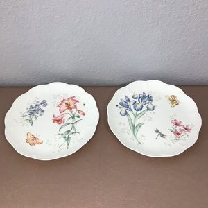 "2 12"" Lenox butterfly meadows dinner plates"